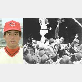 1979年11月、近鉄を倒して初の日本一に輝き、雨の中宙に舞う古葉監督(左写真は現役時代の筆者)/(C)共同通信社