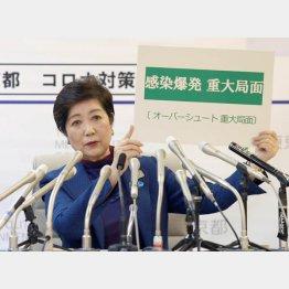 3月25日には小池都知事が「感染爆発重大局面」を発表(C)日刊ゲンダイ