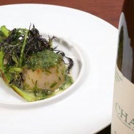 【ホタテのソテー生海苔とバターのソース】生海苔の香りがホタテを包み込む フランスと日本の融合