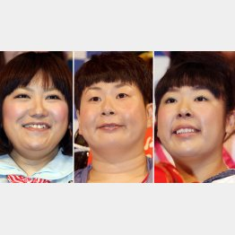 森三中(左から黒沢かずこ、大島美幸、村上知子)/(C)日刊ゲンダイ