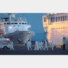 クルーズ船で活躍した防護服の関係者たち(C)日刊ゲンダイ