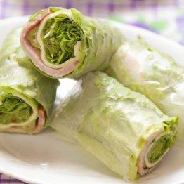 【ハムとレタスとチーズの生春巻き】はやりのマヨネーズでたれ2種を作る