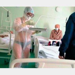 感染患者の世話をする看護師のナディアさん(フェイスブックから)