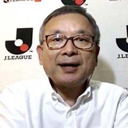 Jリーグ臨時実行委員会終了後に行われたリモート会見での村井チェアマン