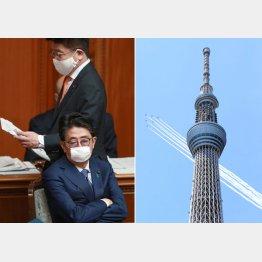 検証は不可欠(写真右は医療従事者らに敬意と感謝の気持ちを示すため、東京上空を通過するブルーインパルス)/(C)日刊ゲンダイ
