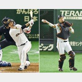 2日の試合で右犠打を放つ坂本とスタメンマスクを被った大城(C)共同通信社