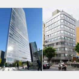 電通本社(左)とサービスデザイン推進協議会が入っているビル(C)共同通信社