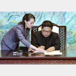 実績づくりのためか(北朝鮮の金正恩朝鮮労働党委員長と妹の金与正党第1副部長)/(C)韓国共同写真記者団・共同