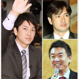 左から時計回りに富川悠太アナ、羽鳥慎一アナ、橋下徹元大阪市長(C)日刊ゲンダイ