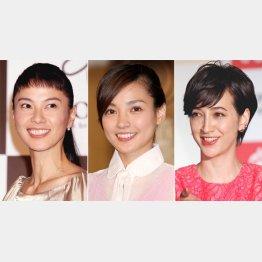 左から江角マキコ、国仲涼子、滝川クリステル(C)日刊ゲンダイ