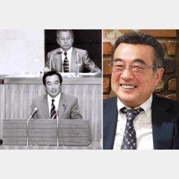 質問に立つ県議時代(右は現在の小菅光行さん)/(提供写真)