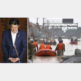 河井夫妻起訴を受けて取材に応じる安倍首相、右写真=熊本・球磨川の氾濫で続けられた救助活動(C)共同通信社
