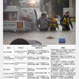 大牟田市で道路が冠水し救助される男性(C)共同通信社