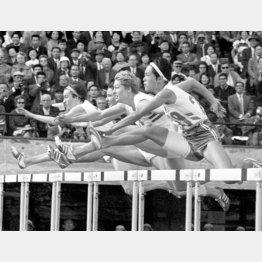 1964年東京五輪女子80メートル障害準決勝、第2ハードルを越える依田郁子(右端)/(C)共同通信社