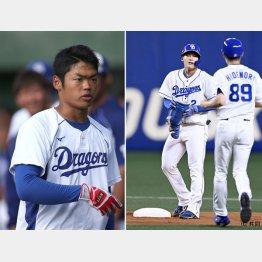 初打席で二塁打を放った石川昂弥(左は2年目の根尾)/(C)日刊ゲンダイ