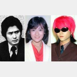 (左から)沖雅也、岡田有希子、「X JAPAN」のhide(C)共同通信社