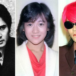(左から)沖雅也、岡田有希子、「X JAPAN」のhide