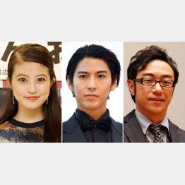左から今田美桜、賀来賢人、角田晃広(C)日刊ゲンダイ