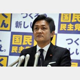 11日、役員会後、会見を開く国民民主の玉木雄一郎代表(C)日刊ゲンダイ