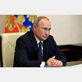 ワクチン完成と発表したプーチン露大統領(C)タス=共同