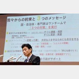 政府の責任逃れ(西村康稔コロナ担当相)/(C)日刊ゲンダイ