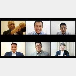 5月28日、動画でファンに開幕メッセージを送る(上段左から)DeNA・ラミレス、巨人・原、阪神・矢野、(下段左から)中日・与田、広島・佐々岡、ヤクルト・高津のセ・リーグ6球団の監督(JERAセ・リーグ特設サイトから)