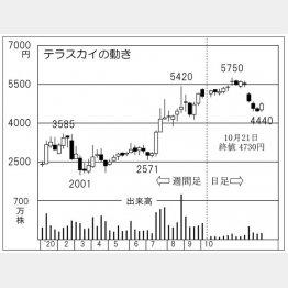 テラスカイの株価チャート(C)日刊ゲンダイ