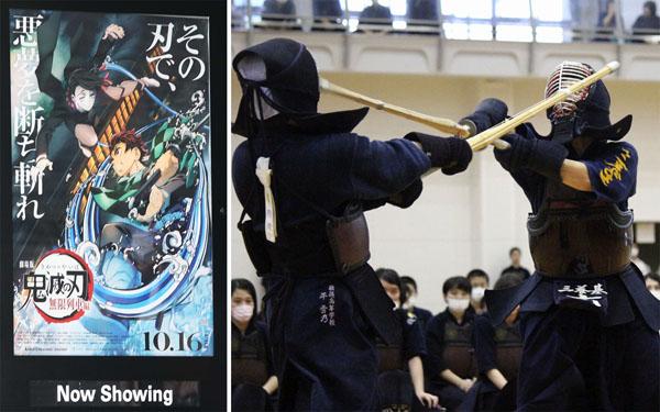 佐賀県の高校総合体育大会の代替大会で対戦する高校生(左は劇場「鬼滅の刃」)/(C)共同通信社