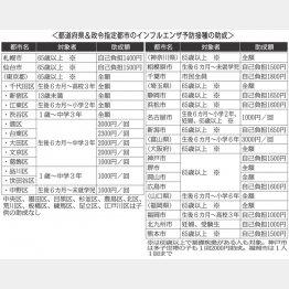 都道府県&政令指定都市のインフルエンザ予防接種の助成(C)日刊ゲンダイ