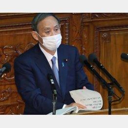 所信表明もスカスカの菅首相(C)日刊ゲンダイ