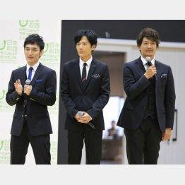 (右から)香取慎吾、稲垣吾郎、草彅剛(C)日刊ゲンダイ