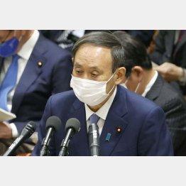 衆院予算委で答弁する菅首相=2日(C)共同通信社