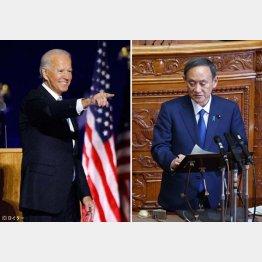 彼我の差…(菅首相と米大統領選で勝利宣言をした民主党のバイデン前副大統領=左)/(C)日刊ゲンダイ