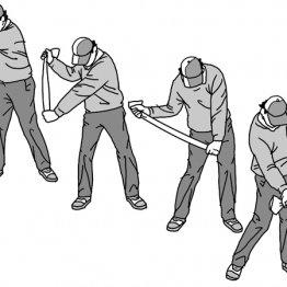 ダウンスイングではグリップエンド引く力を使いタメを維持