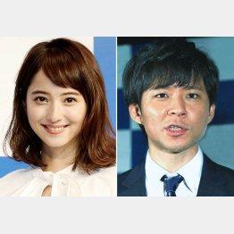 佐々木希(左)と渡部建(C)日刊ゲンダイ