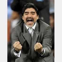 2010年W杯南アフリカ大会のメキシコ戦、先制ゴールを喜ぶアルゼンチン代表監督のマラドーナ(C)共同通信社