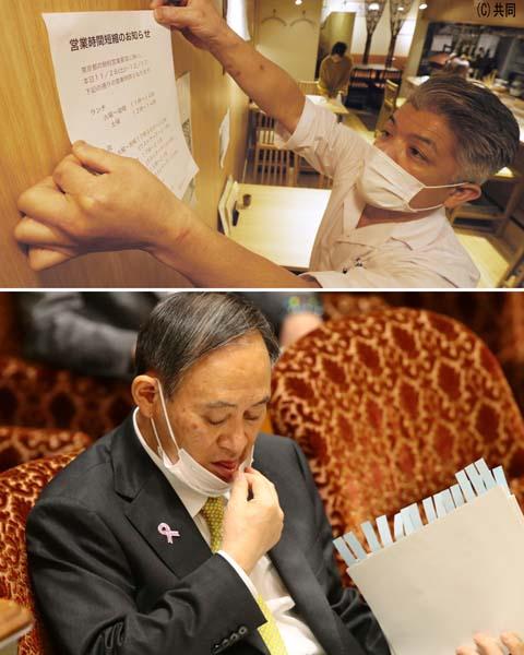時短営業要請は、東京はもう3度目。時間で区切ることがどれだけの効果があるのか(菅首相=下)/(C)日刊ゲンダイ
