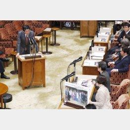 桜を見る会について答弁する安倍前首相(C)日刊ゲンダイ