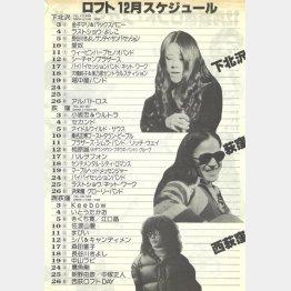 1976年12月の下北沢、荻窪、西荻窪のブッキング(提供)ロフトプロジェクト