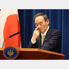 危機感があまりにも薄弱(13日、「緊急事態宣言」を11都府県に拡大することを会見する菅首相)/(C)JMPA