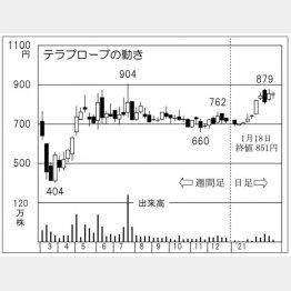 「テラプローブ」の株価チャート(C)日刊ゲンダイ