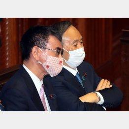18日、衆院本会議で河野行革担当相と話す菅首相(C)日刊ゲンダイ