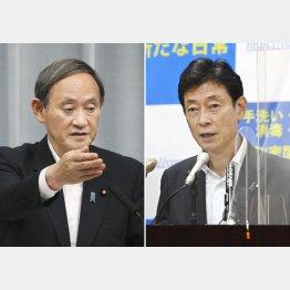 菅首相(左)と西村経済担当相(C)共同通信社
