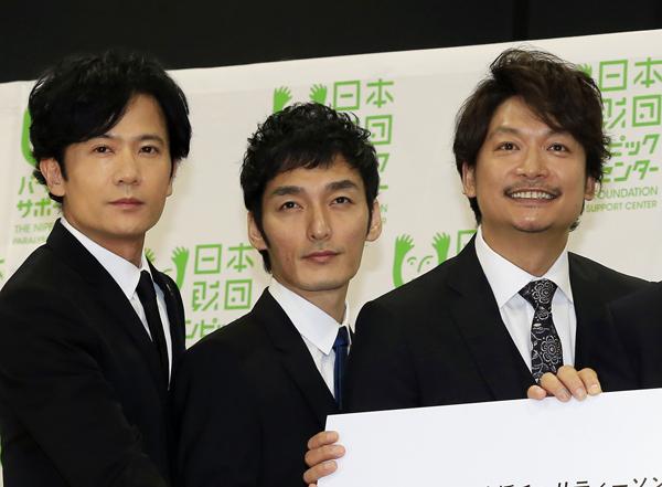 左から「新しい地図」の稲垣吾郎、草彅剛、香取慎吾(C)日刊ゲンダイ