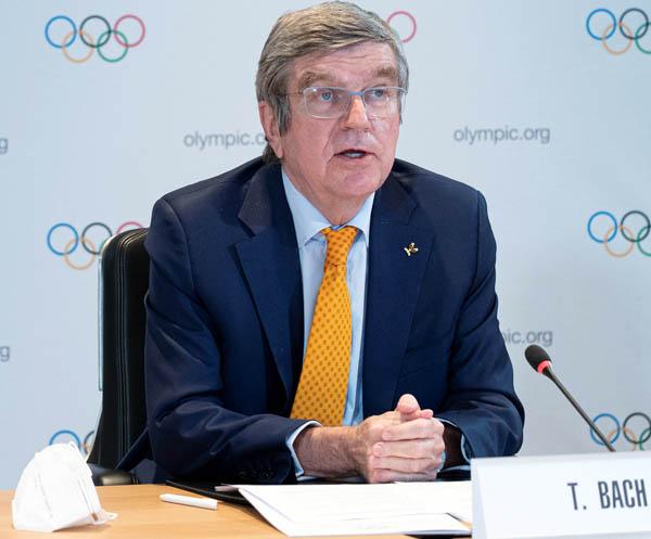 IOCのバッハ会長は予定通り開催すると強調(C)ロイター