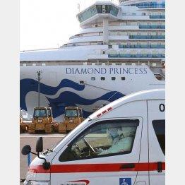 ずさんな感染対策も政府は「適切」と(横浜港に停泊するダイヤモンド・プリンス号=昨年2月)/(C)日刊ゲンダイ