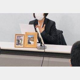 裁判後に会見する妻の赤木雅子さん(撮影:相澤冬樹)