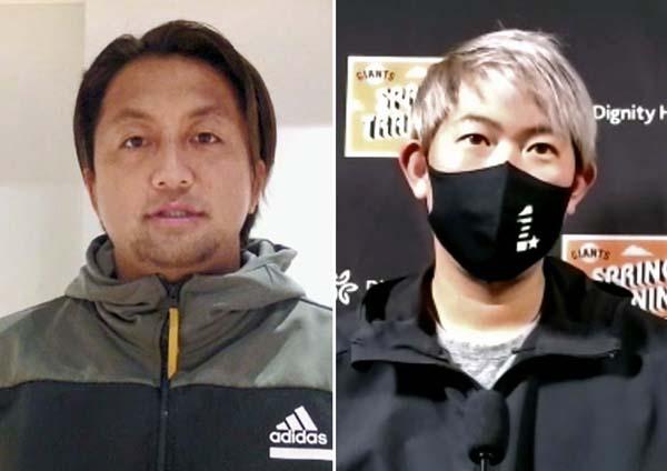 オンラインで取材に応じた山口俊(右)と澤村(C)共同通信社