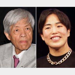 田原総一朗(左)と、ゆりやんレトリィバァ(C)日刊ゲンダイ
