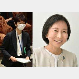 辞職した山田真貴子広報官(左)と後任に決まった外務省の小野日子外務副報道官(C)共同通信社